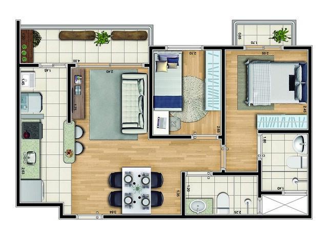 plantas de casas pequenas com sala integrada