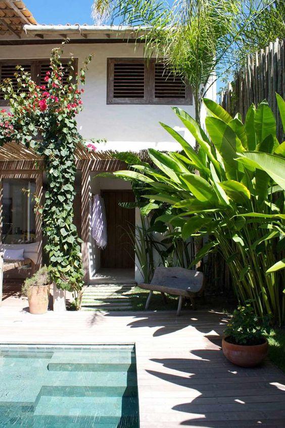 Casa com jardim, vasos de plantas e trepadeira na coluna.