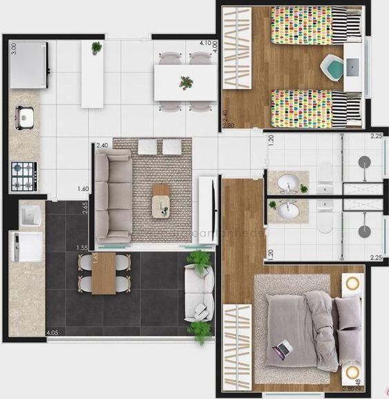 planta de casa com 2 quartos com closet e varanda