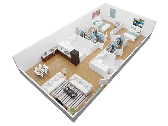 projeto 3D de dois quartos com cozinha americana