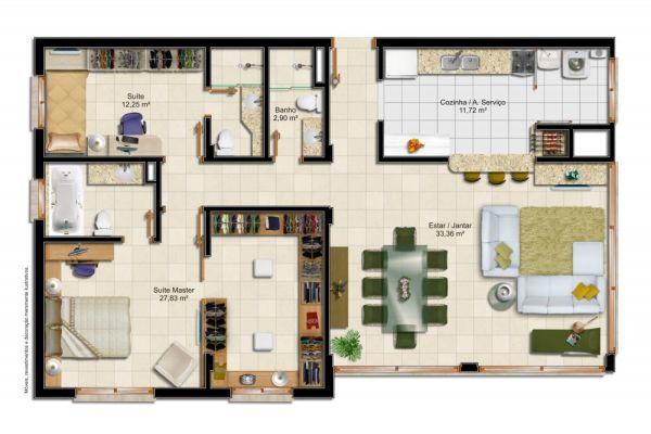 planta com 2 quartos e closet