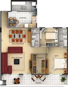 planta de casa moderna com 2 quartos e suíte com closet