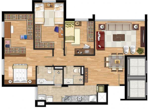 planta de casa com closet e suite master
