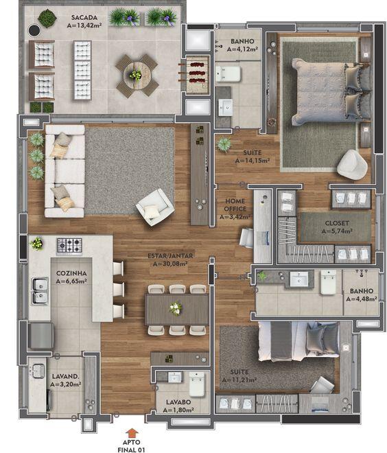 planta de casa com 2 quartos e área gourmet