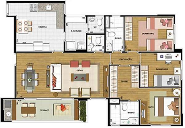 planta de casa com três quartos e terraço