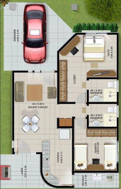 casa moderna com uma vaga de garagem e suite com closet