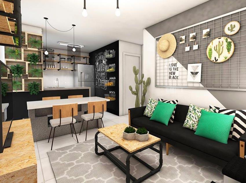 Como decorar uma sala simples com sofá preto e grade.