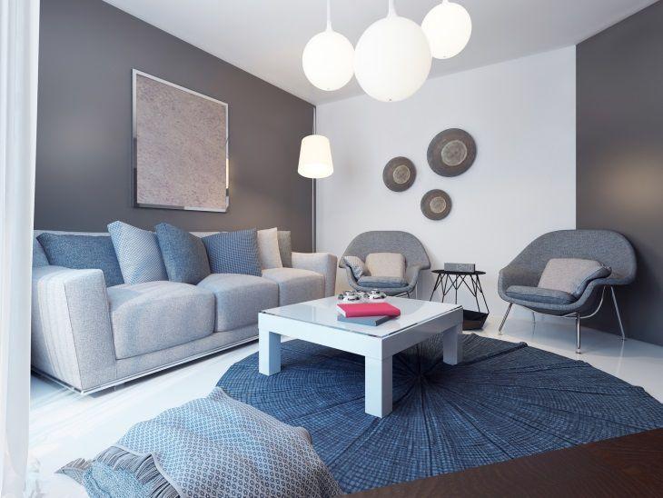 Como decorar uma sala moderna cinza e azul com abajur e lustre.