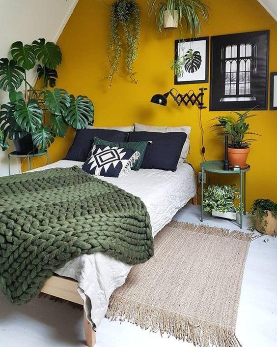 Quarto com parede amarela e muitas plantas.