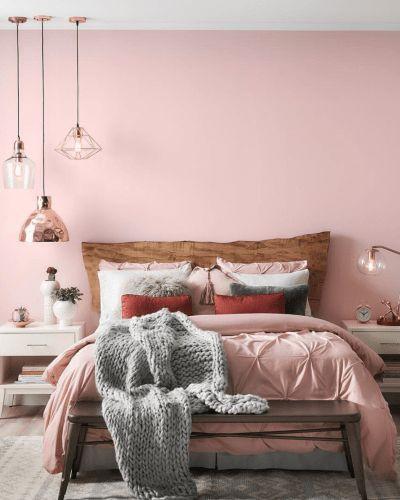 Cores para quarto delicadas: tons claros de rosa.