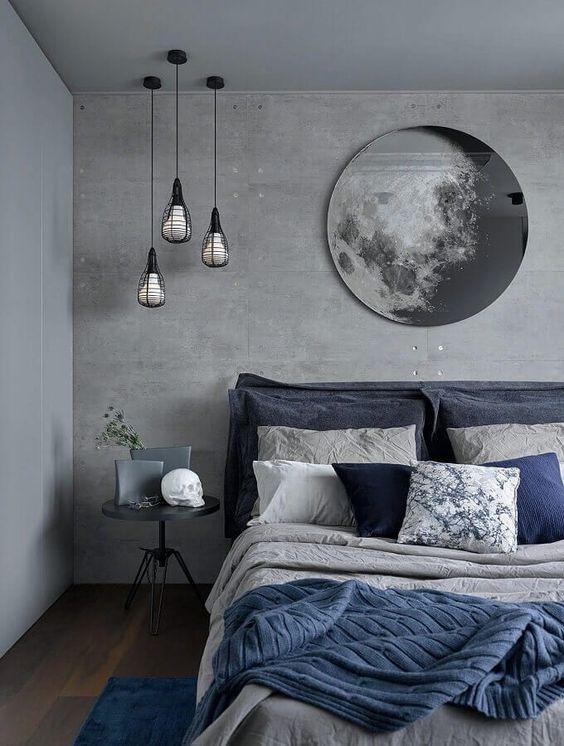 Cores para o quarto que remetam ao céu: cinza e azul.