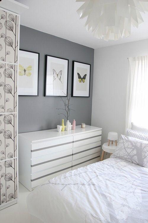Cores para quartos de visita: branco e cinza.