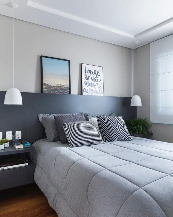 Cores para quarto moderno: cinza e preto.