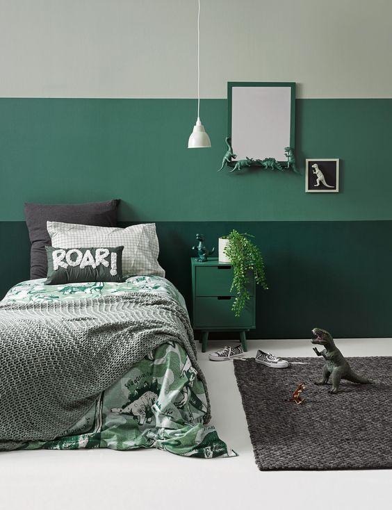 Cores para quarto em diferentes tons de verde.