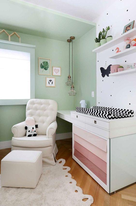 Cores para quarto de bebê: verde e branco.