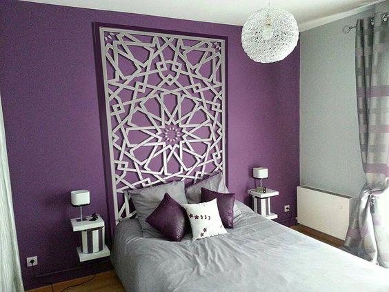 Cores para quarto: roxo com cinza.