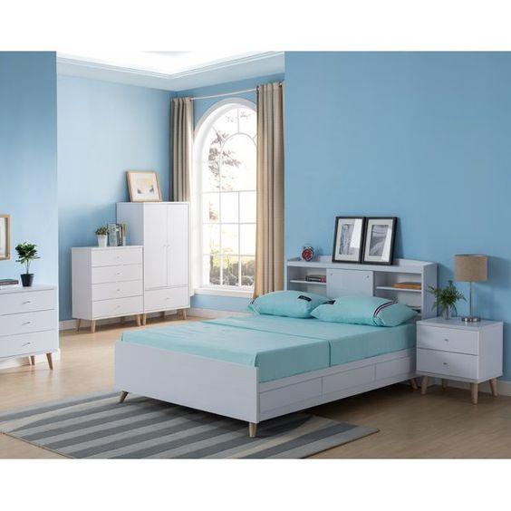 Quarto azul com móveis brancos.