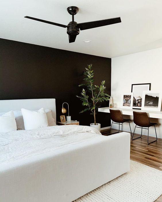 Cores para quarto de casal: branco e preto.