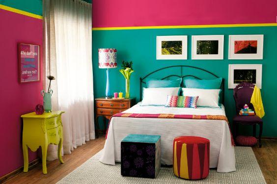 Cores para quarto de casal: amarelo, rosa e verde.