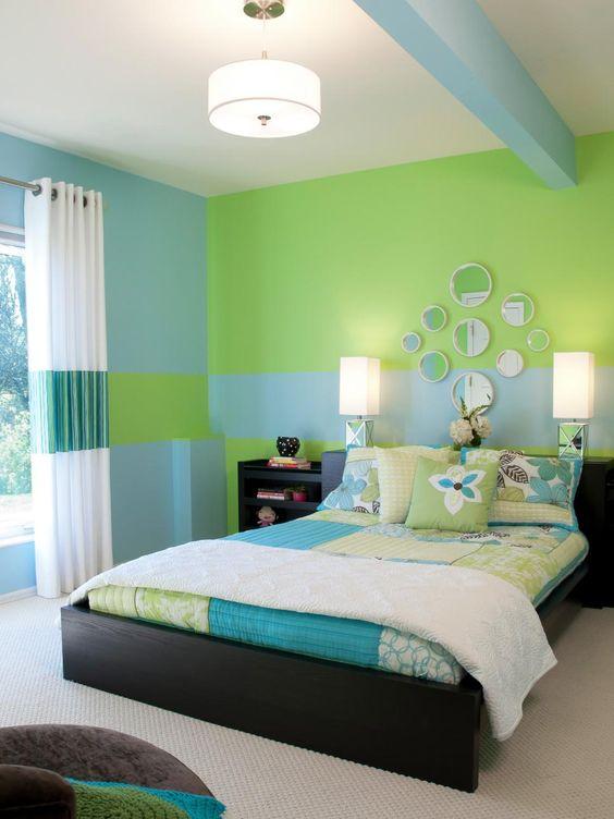 Cores para quarto de casal: verde e azul.