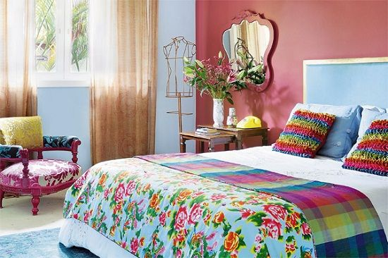 Cores para quarto de casal: rosa e azul.