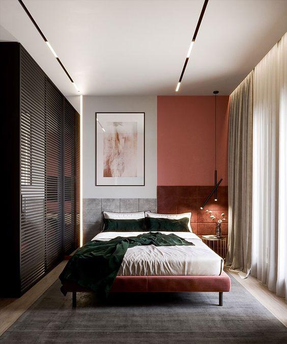 Cores para quarto de casal: branco e rosê.
