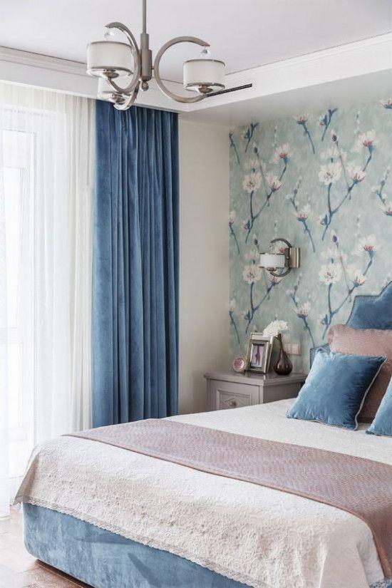 Cores para quarto de casal: azul e branco.