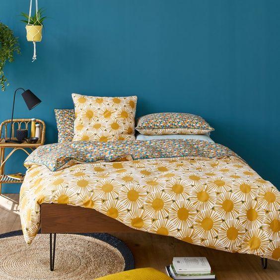 Cores para quarto de casal: azul e amarelo.