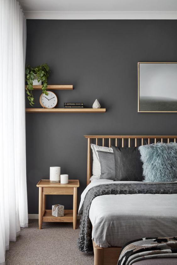Cores para quarto de casal: cinza escuro.