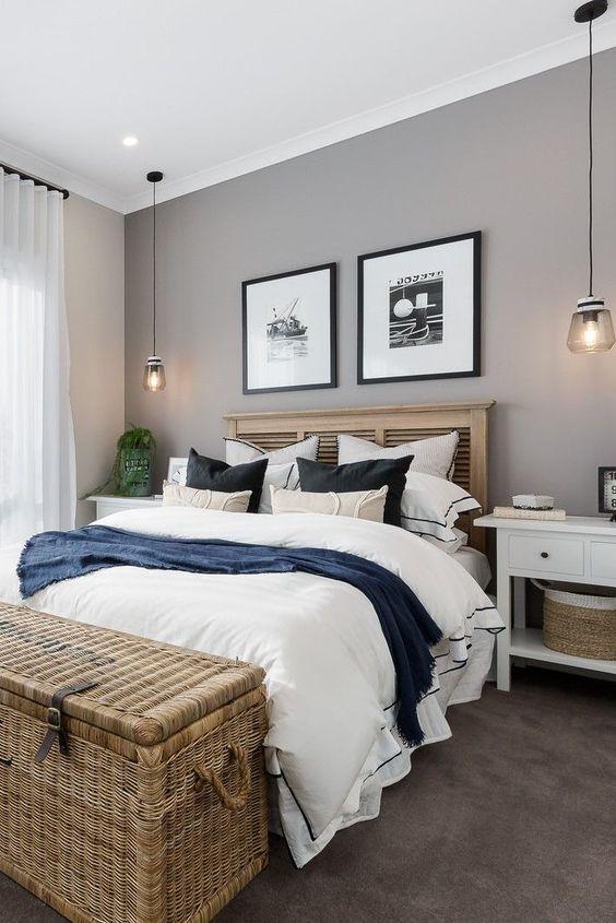Cores para quarto de casal:cinza, branco, preto e azul marinho.