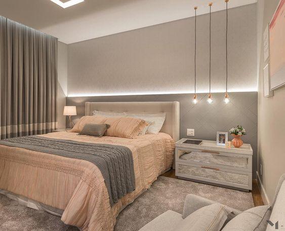 Cores para quarto de casal: cinza e nude.