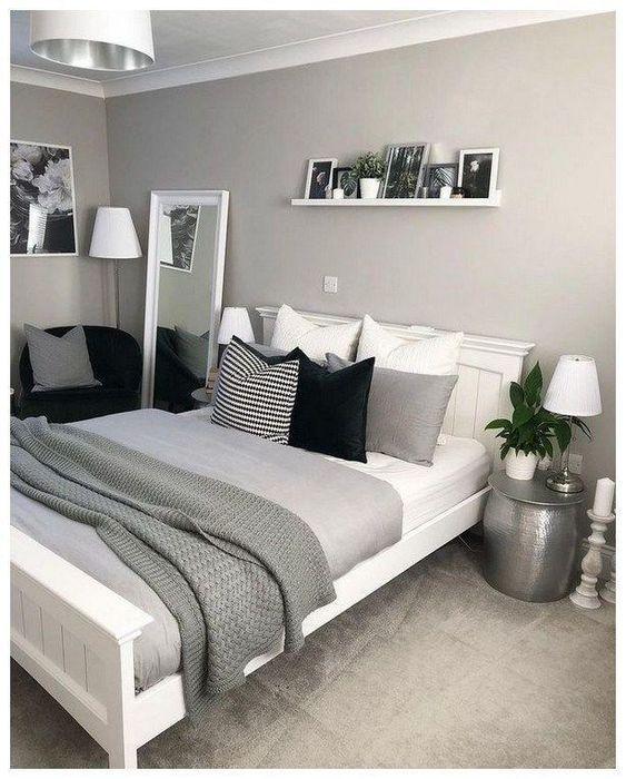 Cores para quarto de casal: cinza, branco e preto.