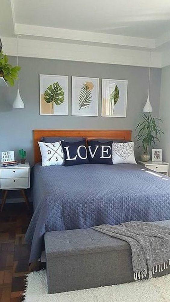 Cores para quarto de casal: cinza e azul.