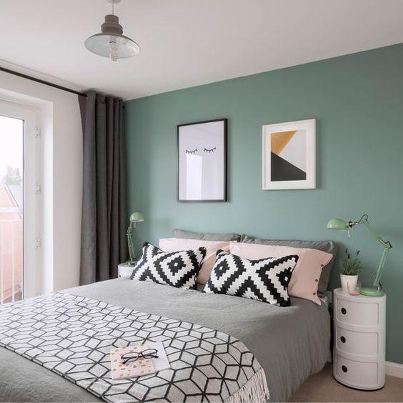 Cores para quarto de casal: verde e cinza.