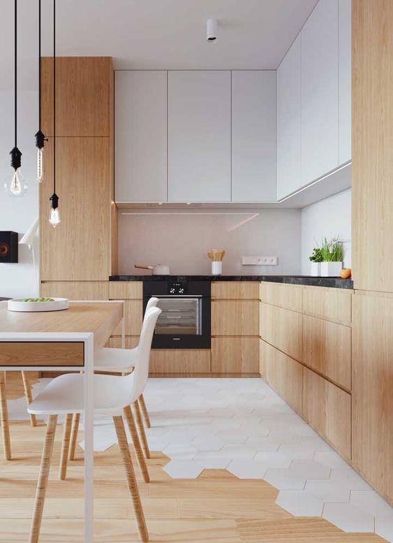 armário planejado em madeira e piso misto