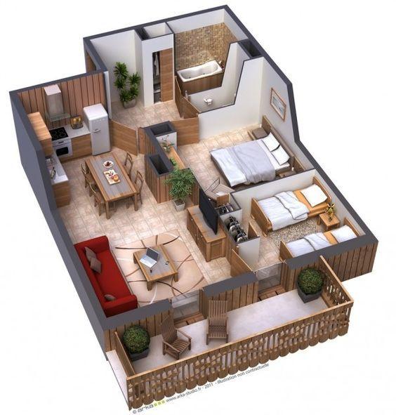 planta de casa em 3D com salas integradas