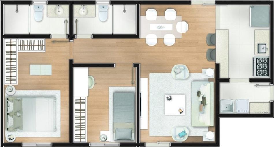 planta com dois quartos, sala, cozinha e banheiro