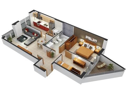 planta de casa com sacada para os quartos