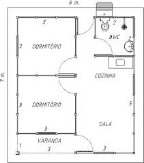 casa com dois quartos e varanda.