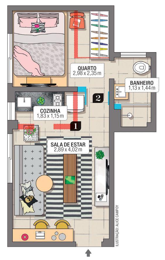 planta de casa pequena com sala de estar e cozinha