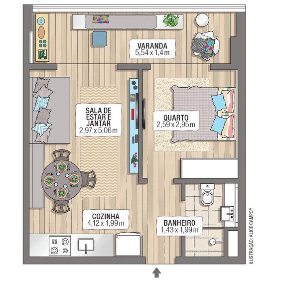 planta de casa pequena com um quarto e varanda