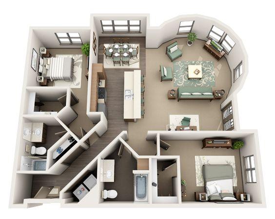 planta de casa com 2 quartos e sala integrada