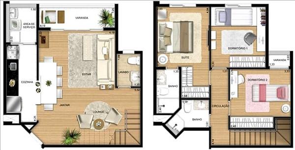 plantas de casas com 3 quartos sobrado com closet