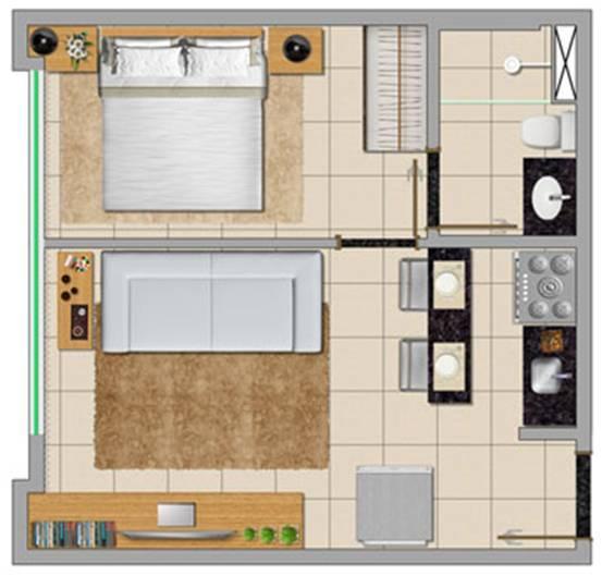 planta de casa pequena com cozinha americana e banheiro