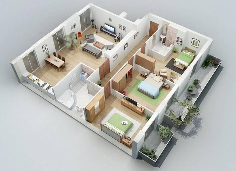 plantas de casas com 3 quartos com cozinha aberta