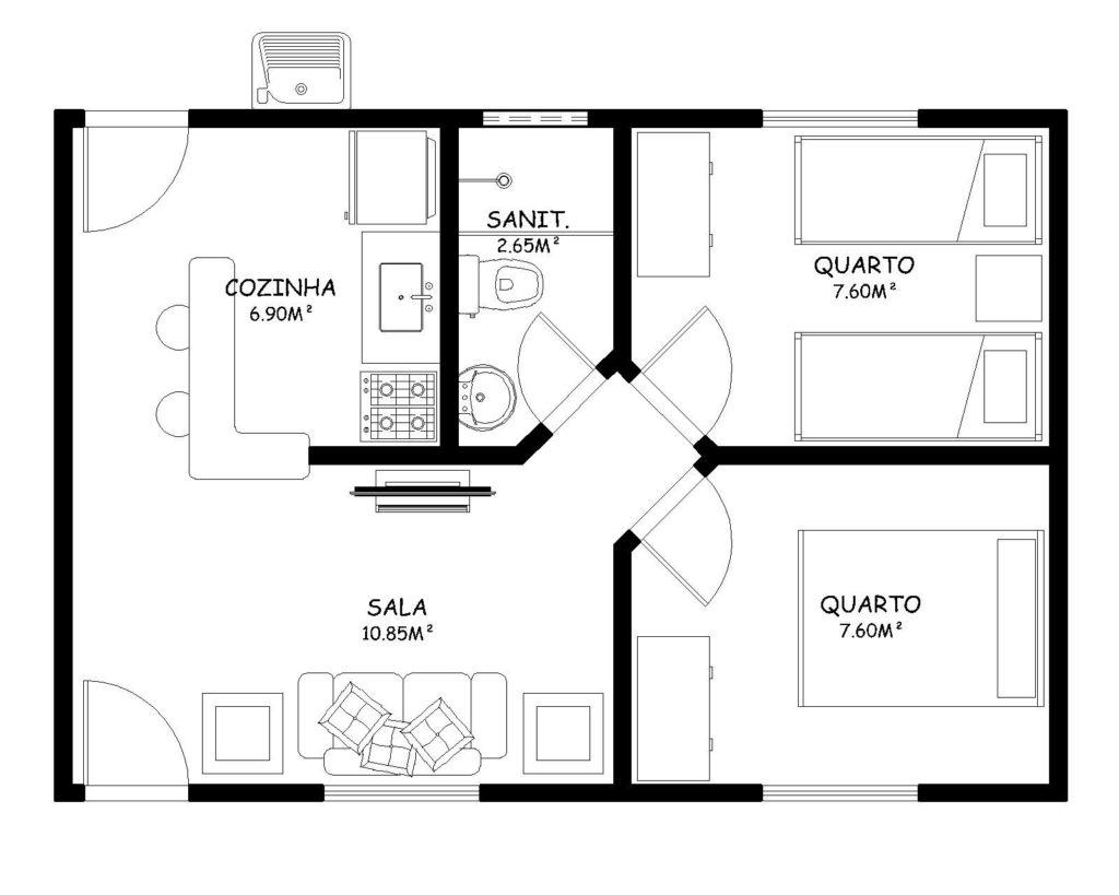 planta com cozinha americana e dois quartos.