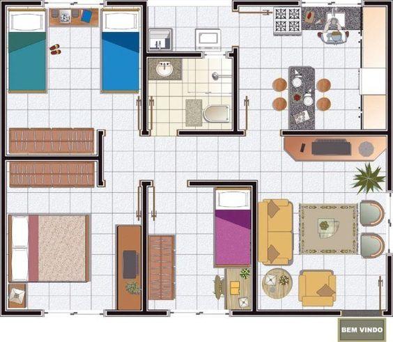 plantas de casas pequenas com três quartos