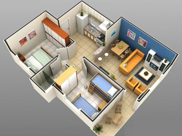 projeto 3D de casa com dois quartos.