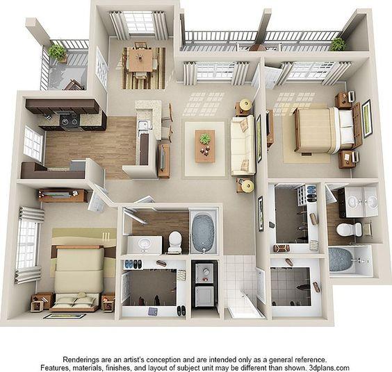 planta de casa com 2 quartos e sacadas pequenas