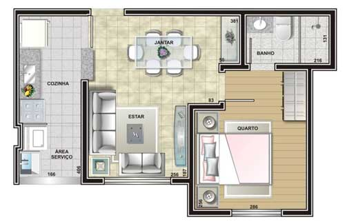 planta de casa pequena com quarto e sala de jantar